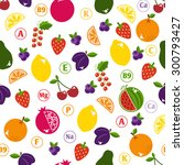 bright fruits seamless pattern... | Shutterstock .eps vector #300793427