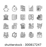 set of black finance thin ... | Shutterstock . vector #300817247