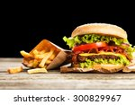 delicious hamburger and french... | Shutterstock . vector #300829967
