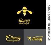 bee logo. vector golden bee...   Shutterstock .eps vector #300847097
