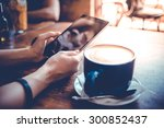 big cup of coffee and hands... | Shutterstock . vector #300852437