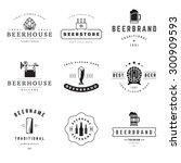 vintage beer brewery logos ... | Shutterstock .eps vector #300909593
