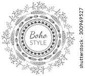 vector boho style frame with... | Shutterstock .eps vector #300969527
