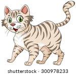 tiger pattern furry cat alone... | Shutterstock .eps vector #300978233
