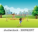 children playing tennis in the... | Shutterstock .eps vector #300982097
