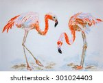 Flamingos.  Original Pastel...