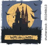 happy halloween card  with dark ... | Shutterstock .eps vector #301048613