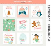 cute vector cards  notes ... | Shutterstock .eps vector #301056353