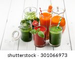 mix of vegetable juices on the... | Shutterstock . vector #301066973