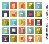 drinks and beverages symbols... | Shutterstock .eps vector #301069487