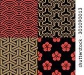 set of traditional japanese... | Shutterstock .eps vector #301090013