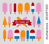 flat ice cream set. perfect for ... | Shutterstock .eps vector #301097303
