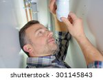 making sure a pipe is tightly... | Shutterstock . vector #301145843