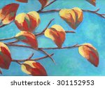 painting of branch with... | Shutterstock . vector #301152953