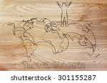 happy man standing on world map ... | Shutterstock . vector #301155287
