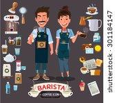 happy barista man and women... | Shutterstock .eps vector #301184147