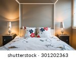 beautiful rustic bedroom.... | Shutterstock . vector #301202363