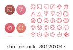 collection of 30 red geometric... | Shutterstock .eps vector #301209047