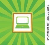 image of laptop in golden frame ...