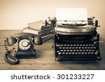 old retro telephone  typewriter ... | Shutterstock . vector #301233227