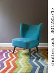 Teal Blue Retro Armchair And...