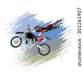 motocross rider on a motorcycle ... | Shutterstock .eps vector #301261907