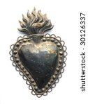 vintage metal heart - stock photo