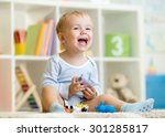 happy little boy. smiling child ... | Shutterstock . vector #301285817