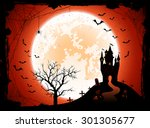 halloween night background with ... | Shutterstock . vector #301305677