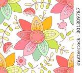 cute flower seamless pattern.... | Shutterstock . vector #301309787