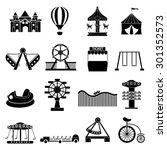 amusement park icons set | Shutterstock .eps vector #301352573