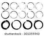 grunge circle black traces of... | Shutterstock .eps vector #301355543