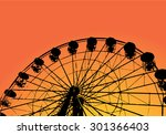 ferris wheel and palm tree... | Shutterstock .eps vector #301366403