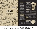 restaurant cafe menu  template... | Shutterstock .eps vector #301374413