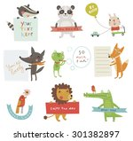 Stock vector cute animals set 301382897