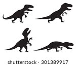 black silhouette of t rex and... | Shutterstock .eps vector #301389917
