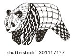 panda zentangle stylized ... | Shutterstock .eps vector #301417127
