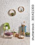 white brick wall interior ...   Shutterstock . vector #301421303