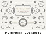 set of vintage decorations... | Shutterstock .eps vector #301428653