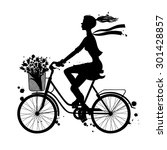 a girl rides a bicycle....   Shutterstock .eps vector #301428857