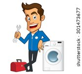 appliance repair expert  he has ... | Shutterstock .eps vector #301473677