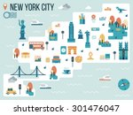 illustration of new york city... | Shutterstock .eps vector #301476047