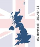 uk map with british flag in... | Shutterstock .eps vector #30148435