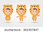 vector cartoon kids in tiger... | Shutterstock .eps vector #301507847