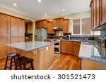 classic kitchen with island ... | Shutterstock . vector #301521473