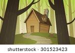 cabin in woods   Shutterstock .eps vector #301523423