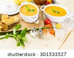 roasted tomato soup cooked with ... | Shutterstock . vector #301533527