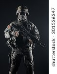 Small photo of United States paratrooper airborne infantry studio shot on black background