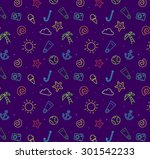 summer beach pattern background ... | Shutterstock .eps vector #301542233