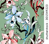 watercolor floral seamless...   Shutterstock . vector #301549223